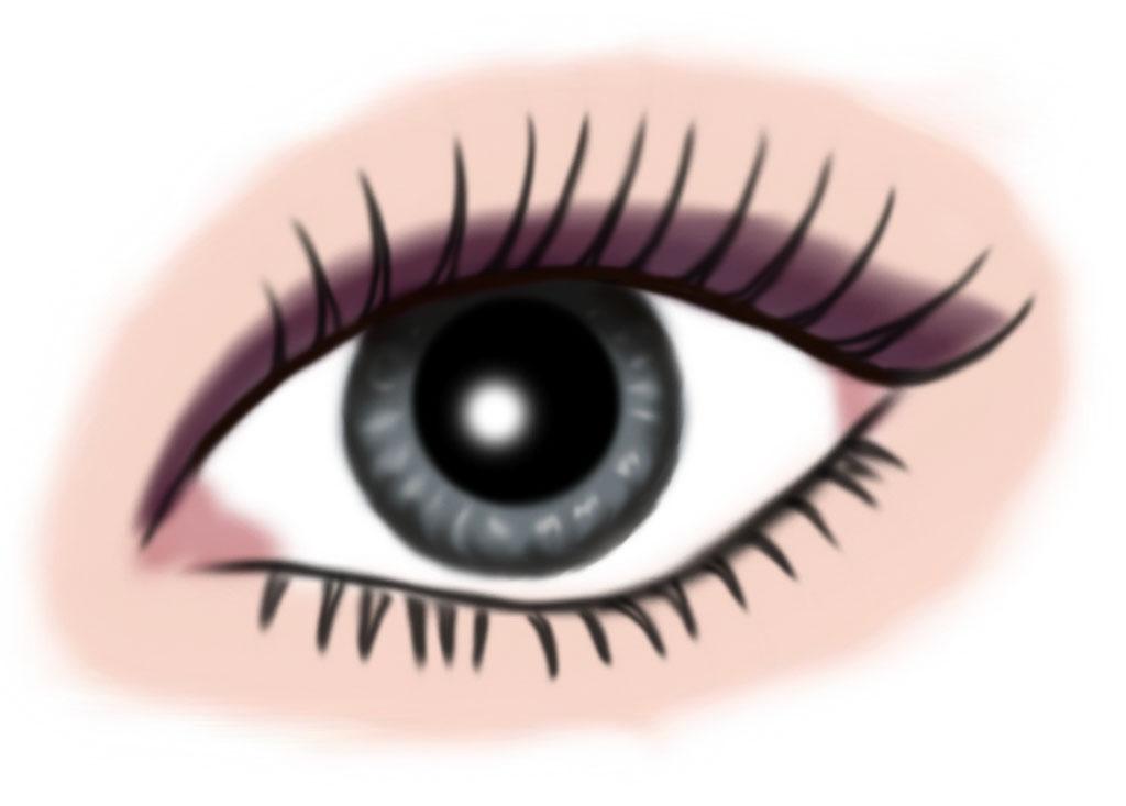 auge grau - makeup dunkellila