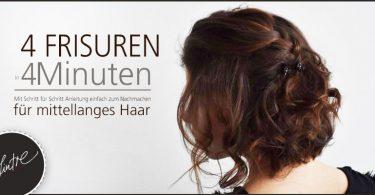 mittellanges haar schnelle frisuren 375x195 - 4 raffinierte, schnelle Frisuren für mittellanges Haar