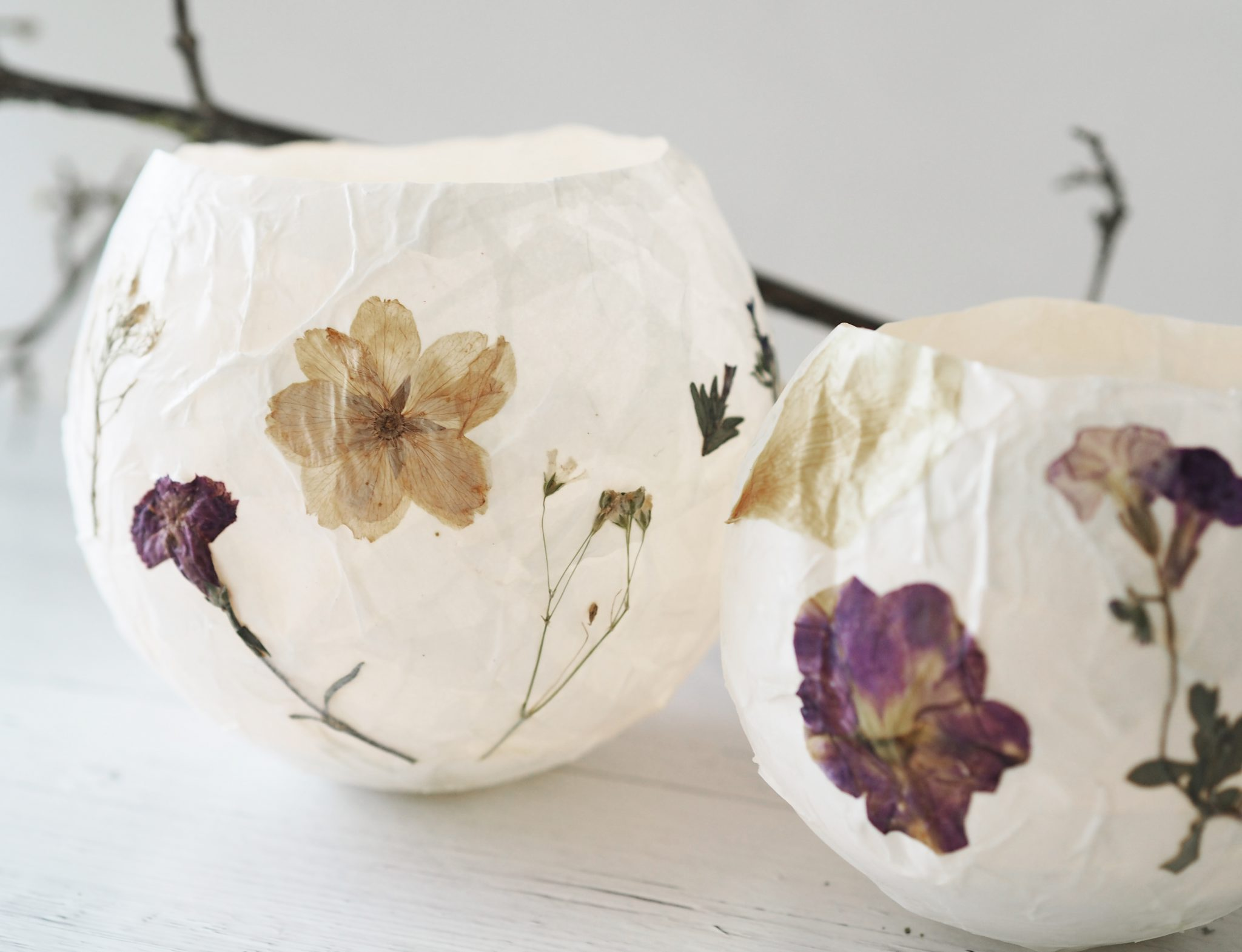 P6250296 - Selbstgemachte Lampions mit getrockneten Blüten