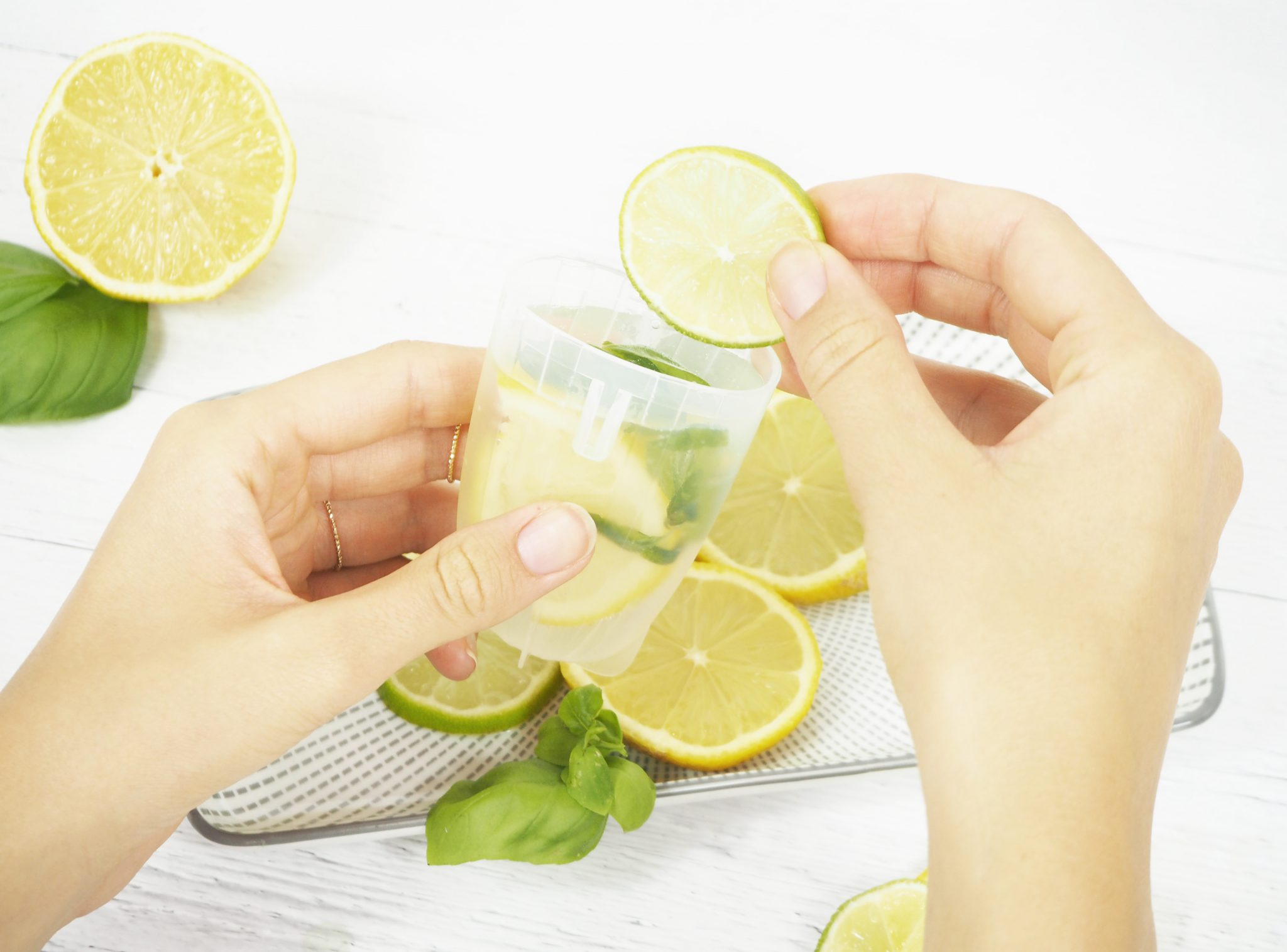 Gebe die Limetten und Zitronen in die Eisformen