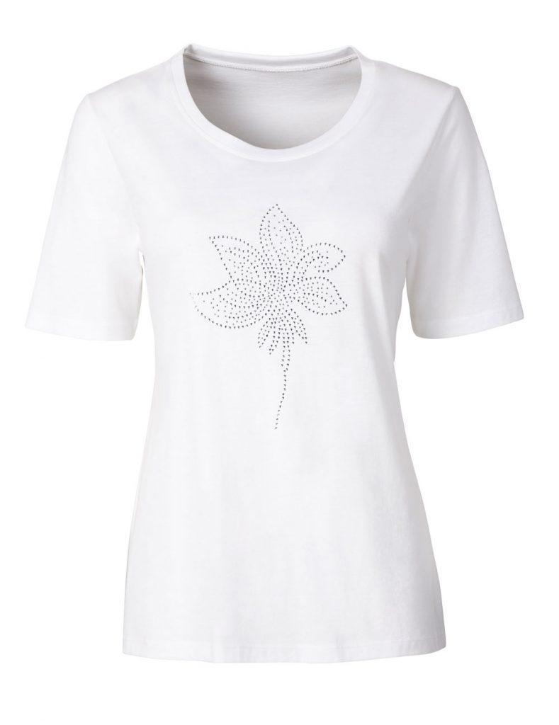 Weißes Shirt mit Ziersteinen