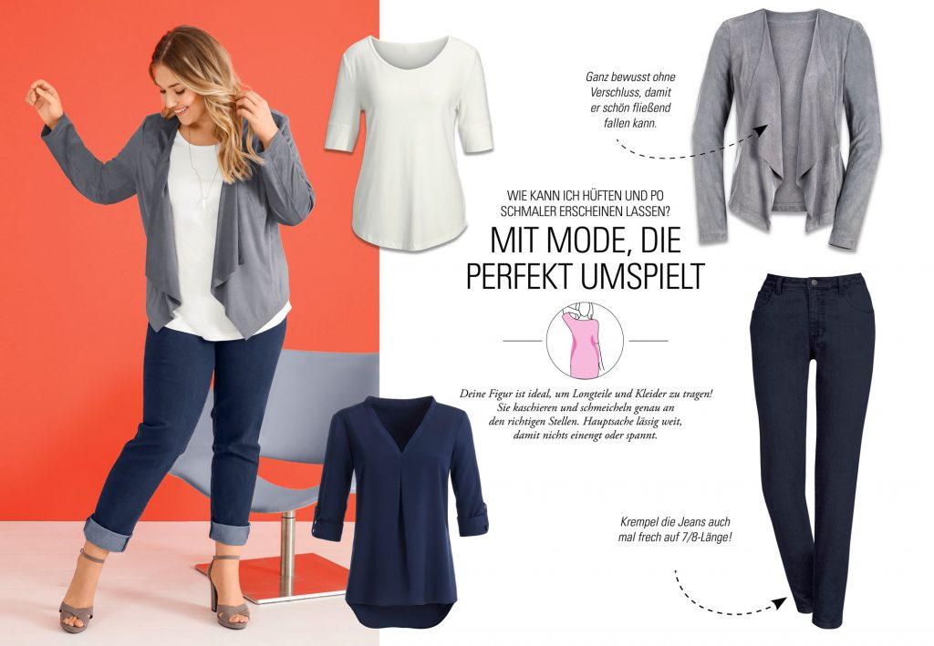 Collage aus Klamotten, die breitere Hüften umspielen