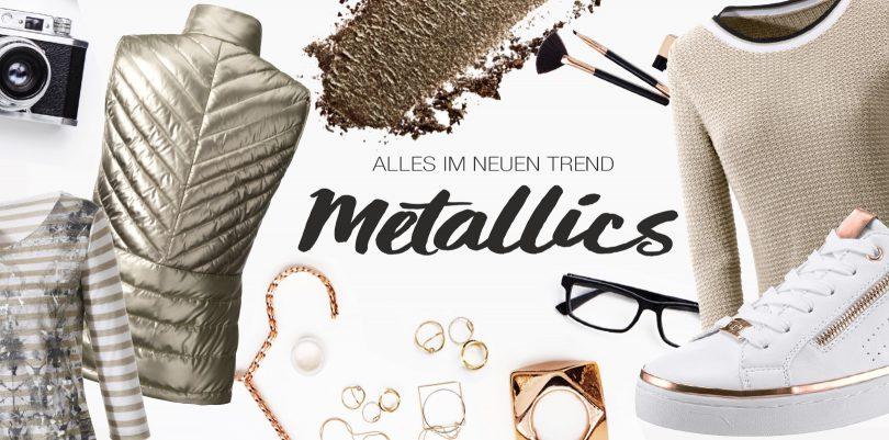 Verschiedene Kleidungsstücke im Metallic-Look