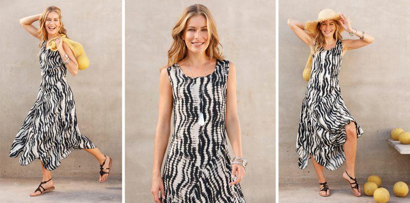 Model trägt ein Batik-Kleid