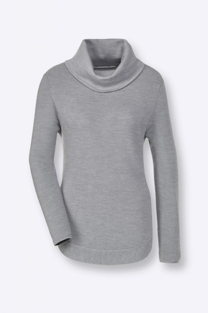 Grauer Pullover aus Merinowolle mit Rollkragen