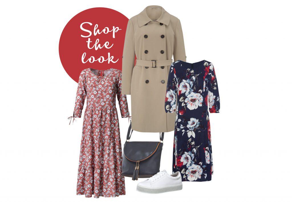 Collage zeigt einen femininen Look mit beigem Trenchcoat, Blumenkleidern und lässigen Sneakern