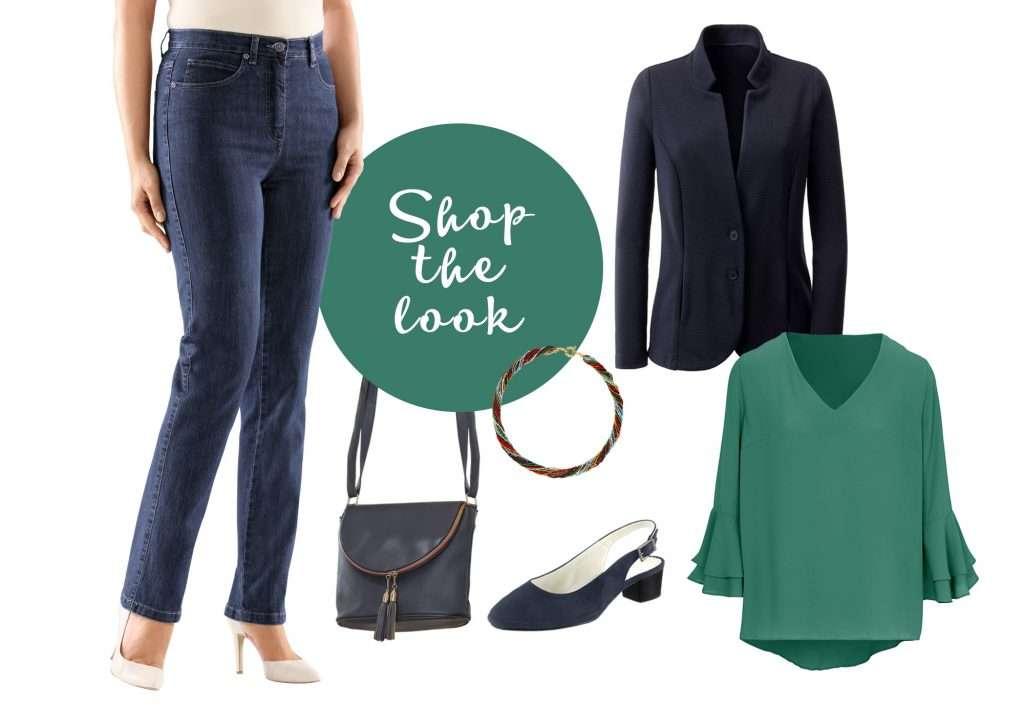 Outfit mit grüner Bluse und blauem Blazer