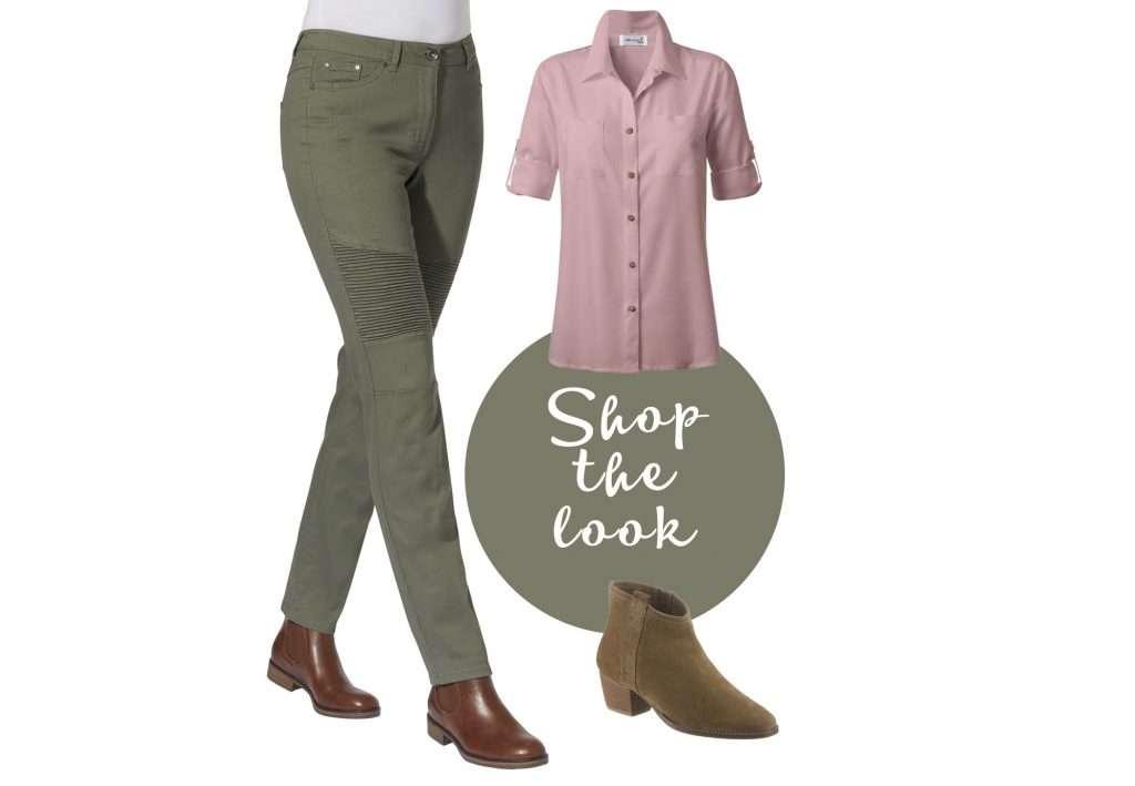 Cargohose in Olivgrün mit rosa Bluse