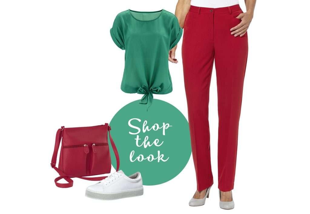 Outfit-Kombination mit rot und grün