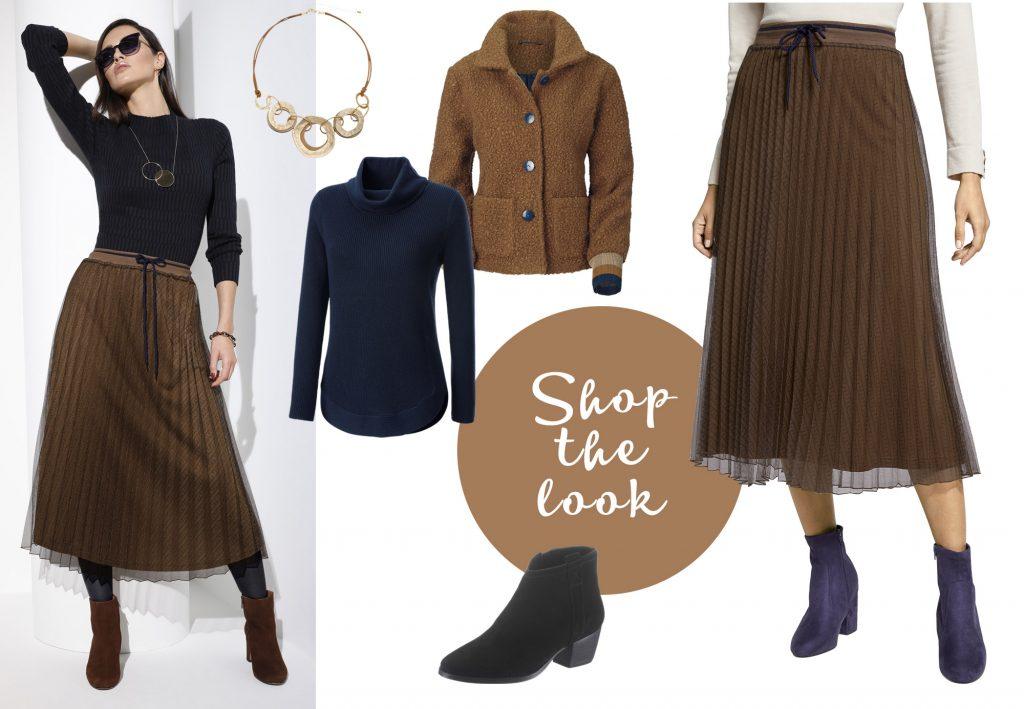 Winterliches Outfit mit Plisseerock