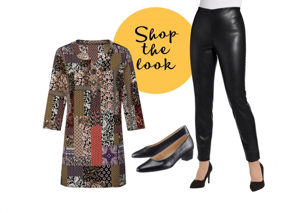 Outfit mit Lederleggings und Tunikabluse für Mollige