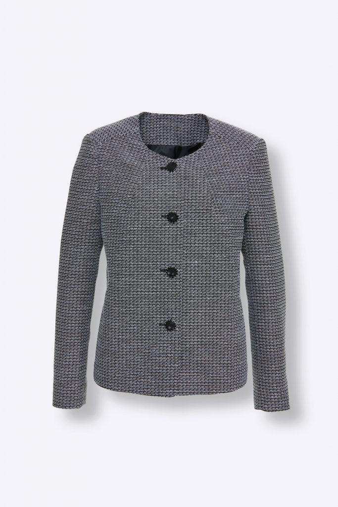 Grauer Blazer in Bouclé-Qualität fürs Herbst Outfit