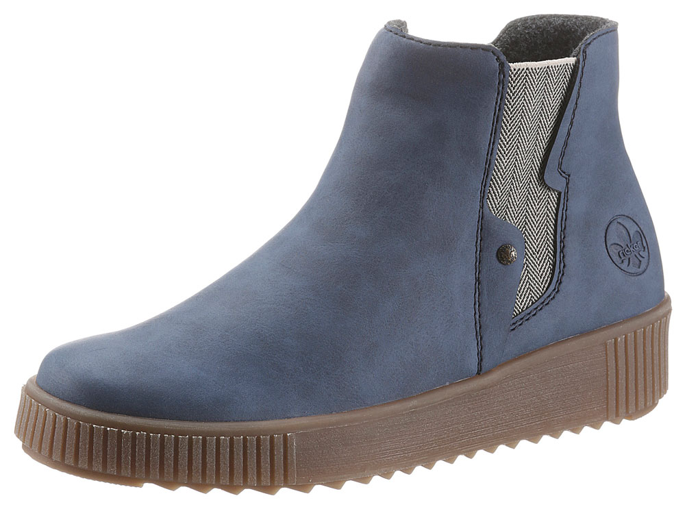 Blaue Chelsea Boots fürs Herbst Outfit