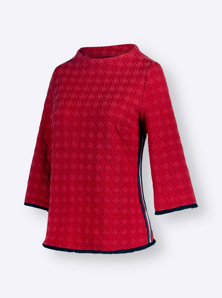 Rotes Jacquard-Shirt mit Hahnentrittmuster fürs Herbst Outfit