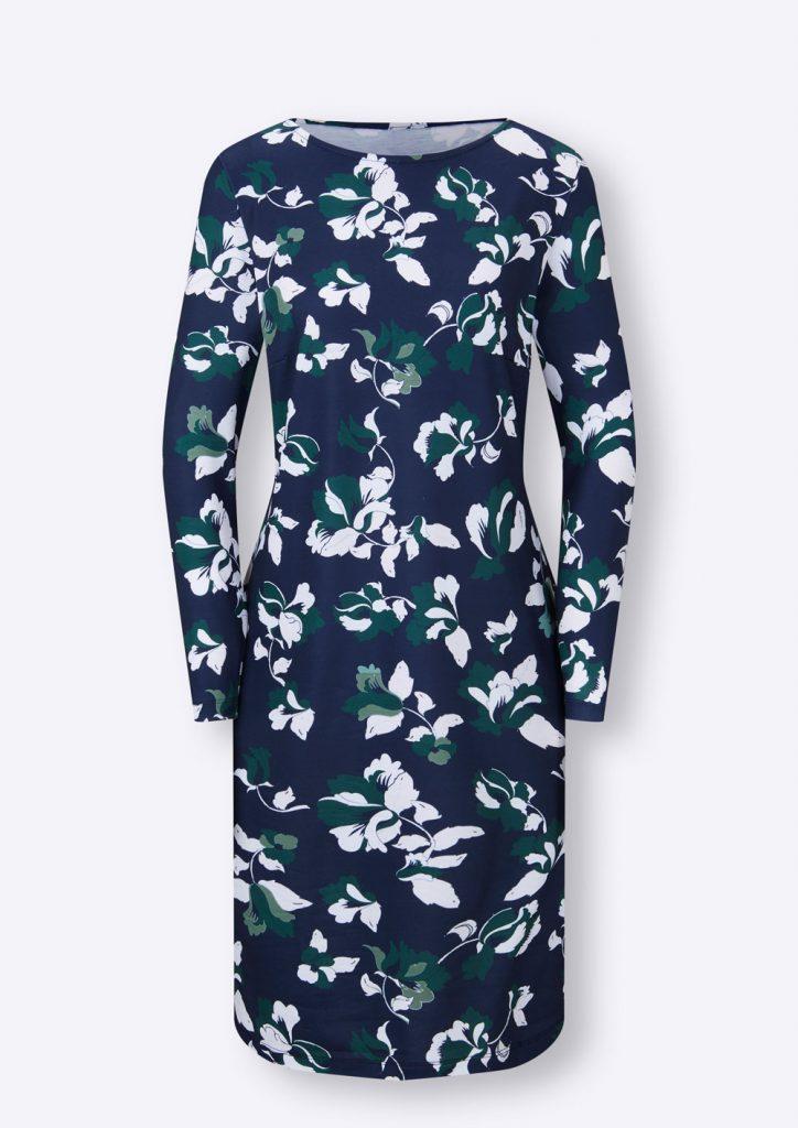 Langärmeliges Kleid in marine mit floralem Muster fürs Herbst Outfit