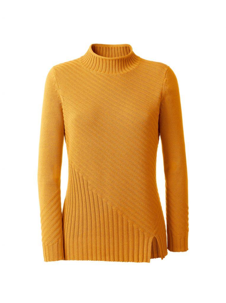 Gelber Strickpullover mit Stehkragen fürs Herbst Outfit