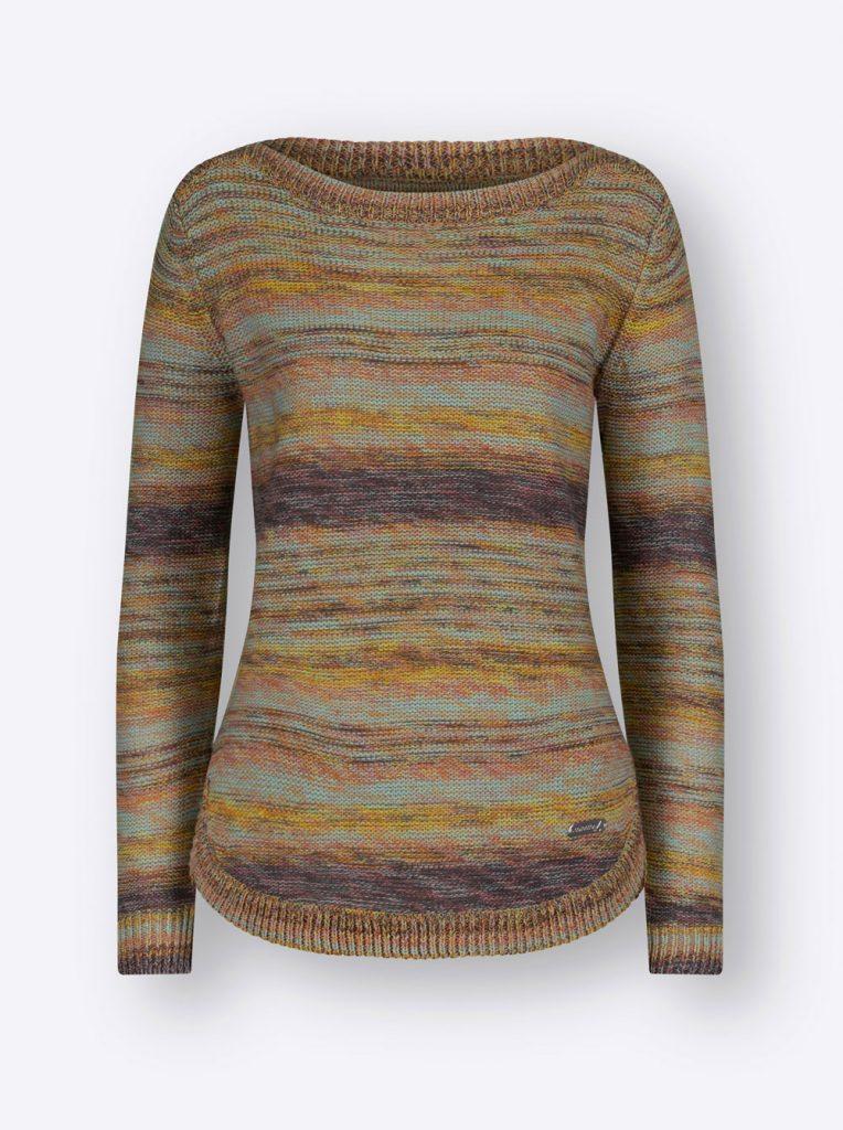 Gestreifter Strickpullover in Khaki fürs Herbst Outfit