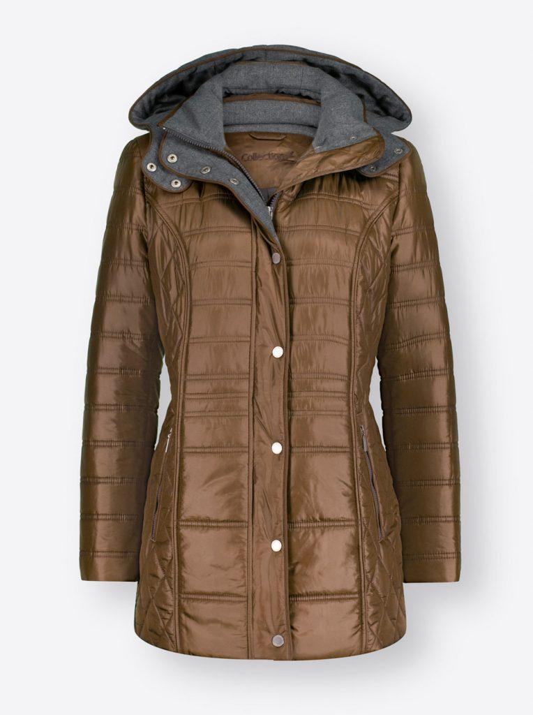 Braune Steppjacke mit Kapuze fürs Herbst Outfit