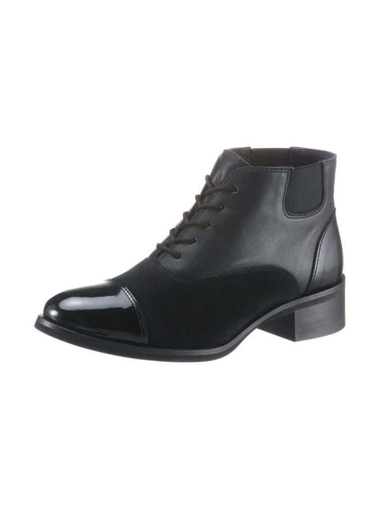 Schwarze Stiefelette zum Schnüren aus Leder fürs Herbst Outfit