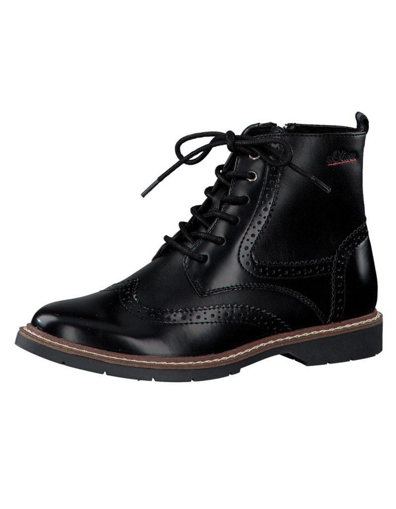 Schwarze Schnürstiefelette fürs Herbst Outfit