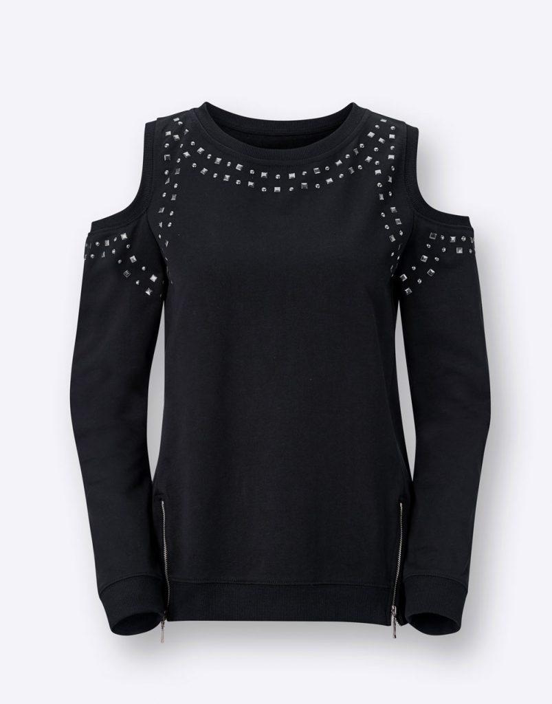 Schwarzes Sweatshirt mit Schmucksteinen