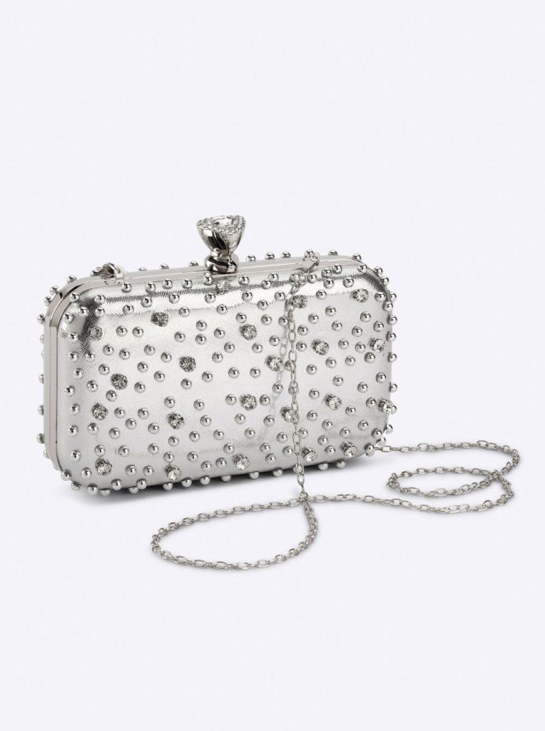 Silberne Tasche mit Glassteinen