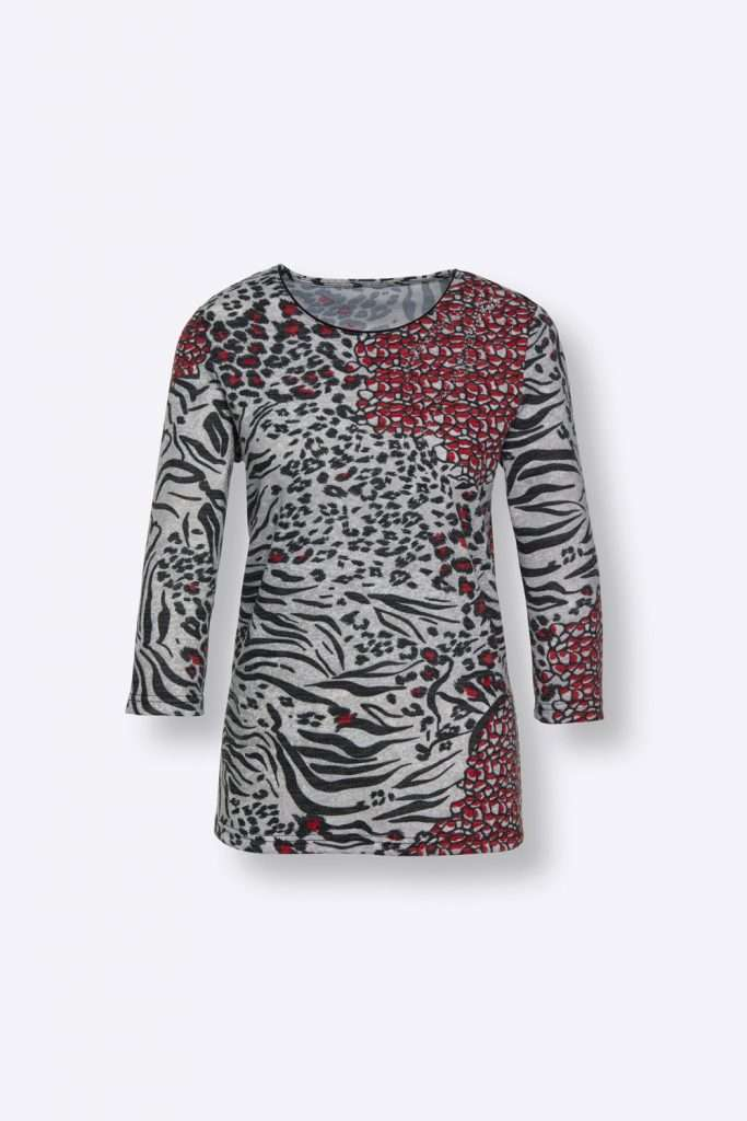 Shirt mit Muster in Rot, Schwarz und Weiß