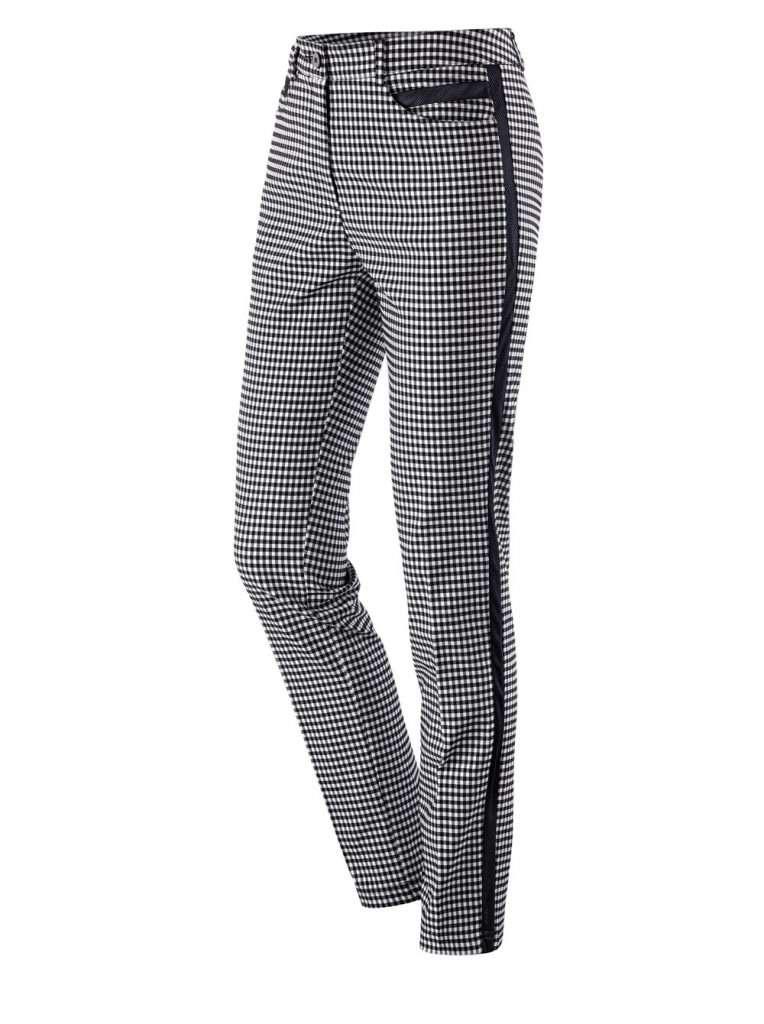 Schwarz-weiß karierte Hose