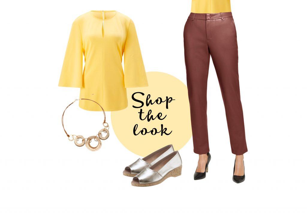 Braune Lederleggings mit gelbem Oberteil für einen farbenfrohen Alltagslook