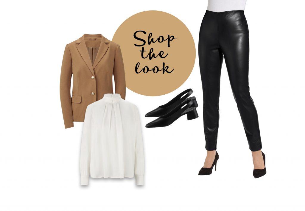 Elegantes Outfit mit schwarzen Lederleggings und weißer Bluse