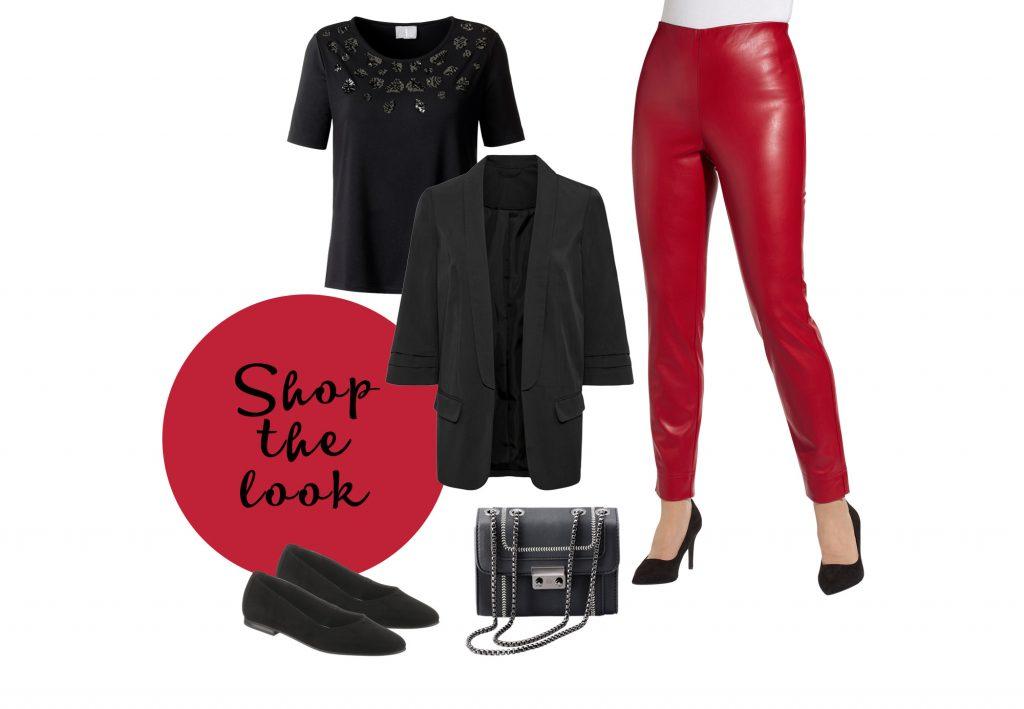 Rockiges Outfit mit roten Lederleggings und schwarzen Shirt und Blazer