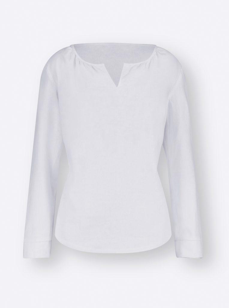 Weiße Bluse aus Leinenmix