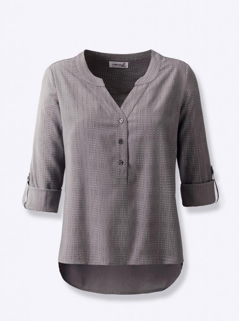 Graue Bluse mit V-Ausschnitt