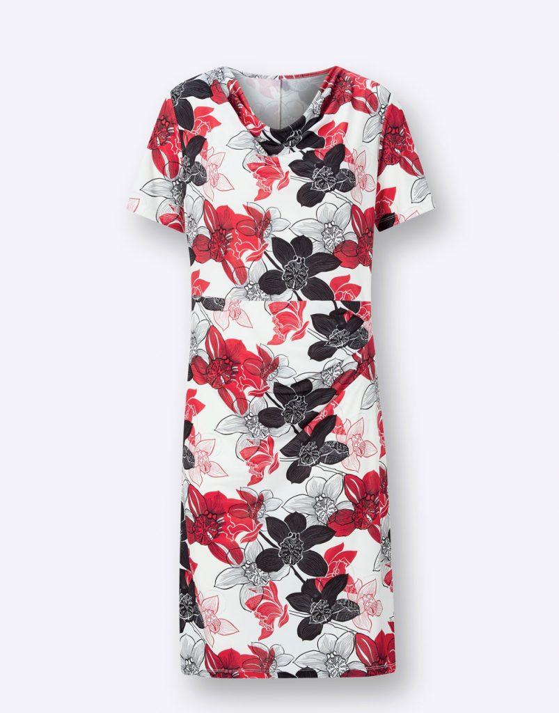 Rot-schwarz-gemustertes Kleid mit Wasserfall-Ausschnitt