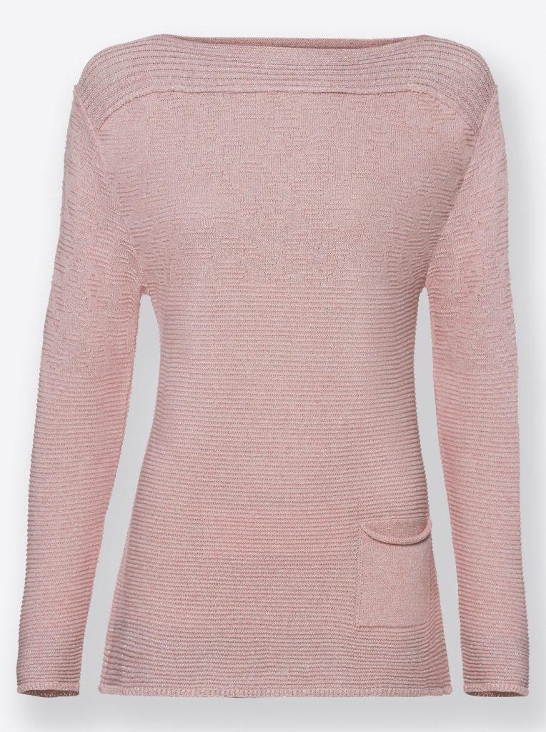 Rosefarbener Pullover mit U-Boot-Ausschnitt