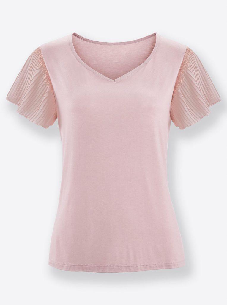 Rosefarbenes Shirt mit Herzausschnitt und Flügelärmelchen