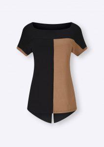 Schwarz-beiges Shirt mit Karree-Ausschnitt
