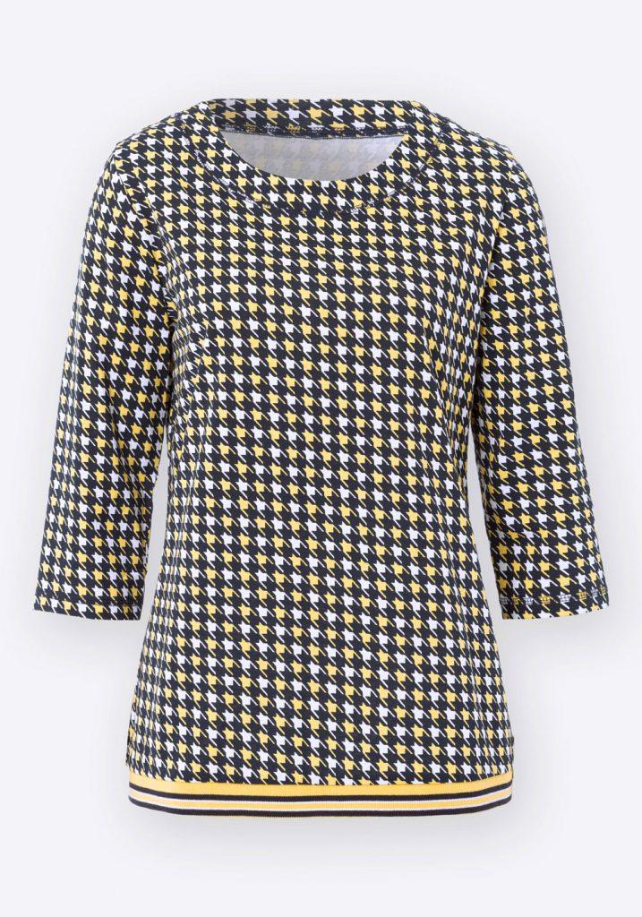 Gelb-schwarzes Shirt mit Rundhals-Ausschnitt