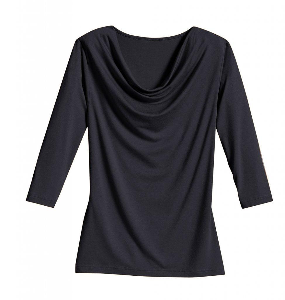 Schwarzes Shirt mit Wasserfallausschnitt