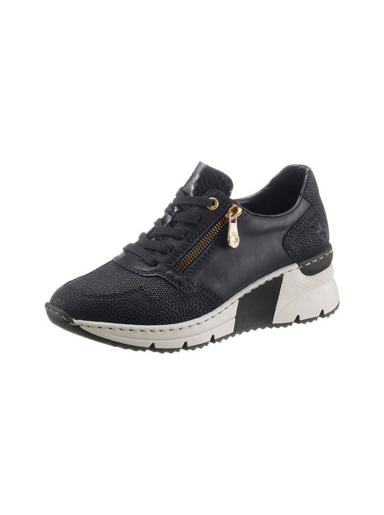 Schwarze Sneaker mit goldenem Reißverschluss